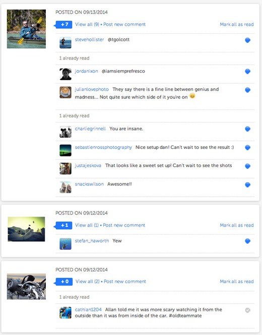 Interacting and commenting on iconosquare