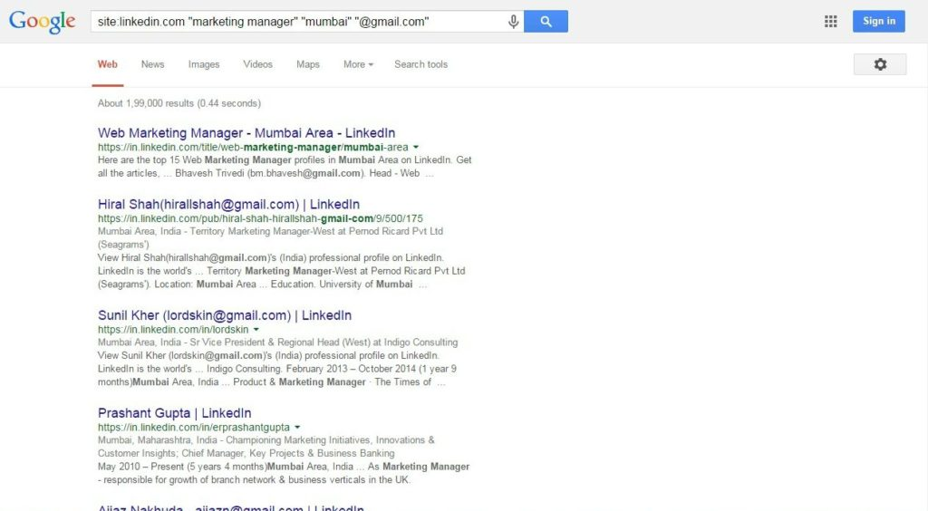 Google Search Results For Email Adresses On Linkedin.com