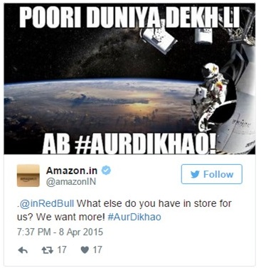 Amazon's Tweet with Red Bull Brand