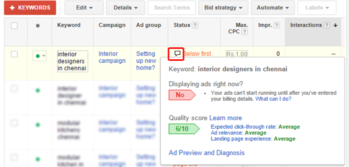 how to find keyword quality score