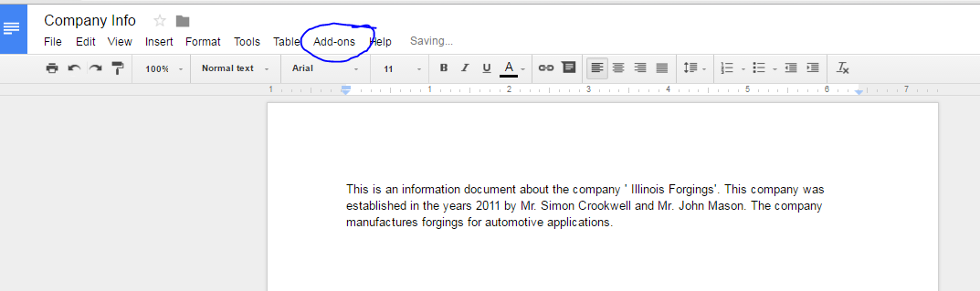 Add ons in Google sheets