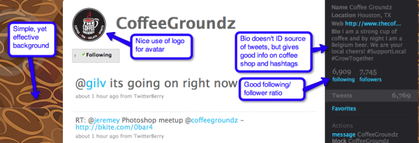 twitter page of Coffee groundz