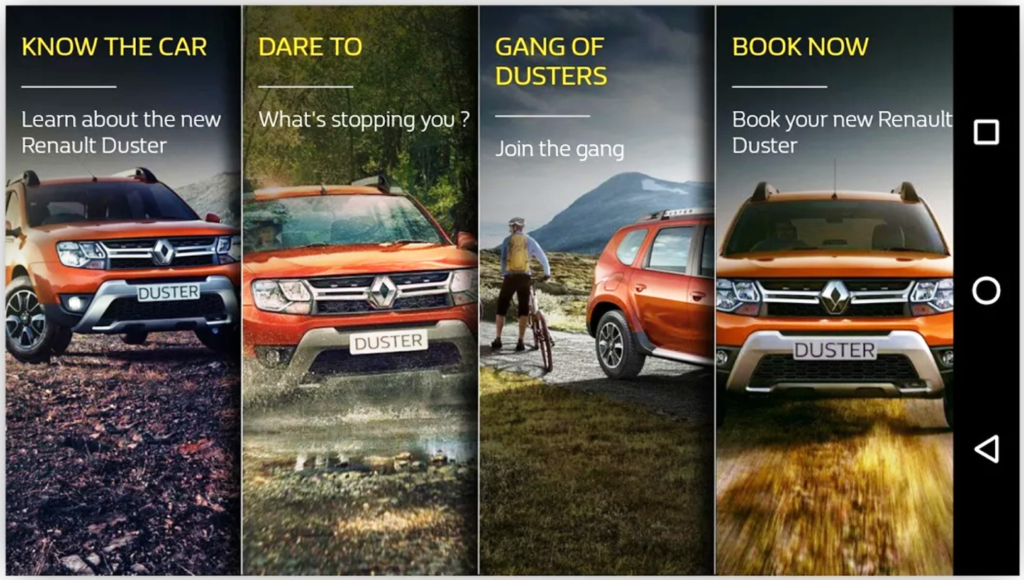 Renault Duster's App's Screengrab