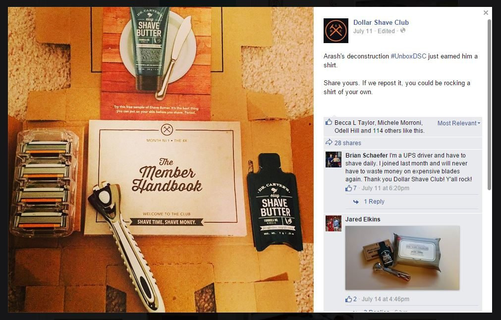 Facebook post by Dollar Shave Club