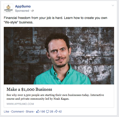AppSumo's Ad for Monthly 1K course