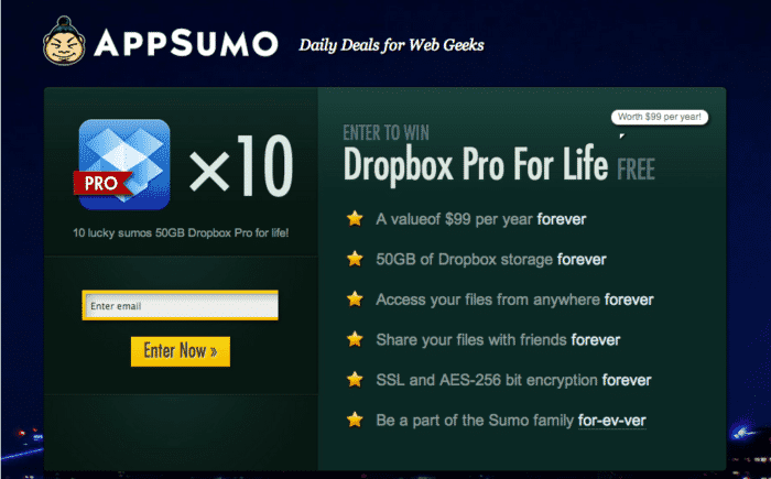 AppSumo Giveaway for collecting Email Subscribers