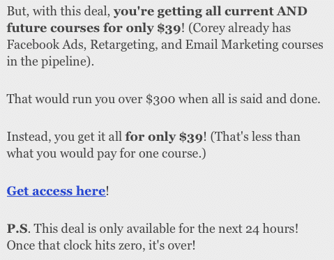 Deals to Email Subscribers