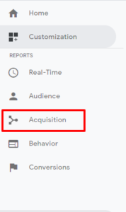 "Click on ""Acquisition"""