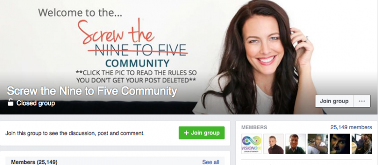 facebook-group-of-screw-the-nine-to-five-community-for- Facebook Marketing Tutorial