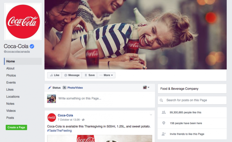 facebook-page-of-coca-cola-for Facebook Marketing Tutorial