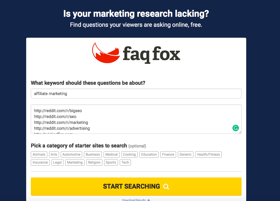 FAQ Fox for content idea generation