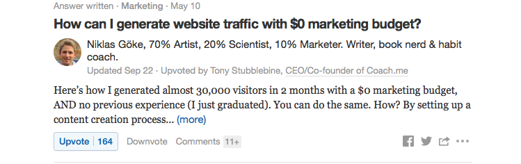 Content Idea Generation through Quora