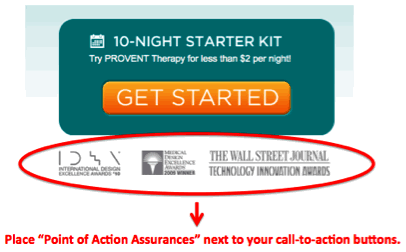 point of action assurances with call to action buttons