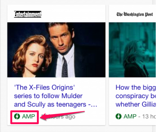 AMP green signal for Accelerated Mobile Pages