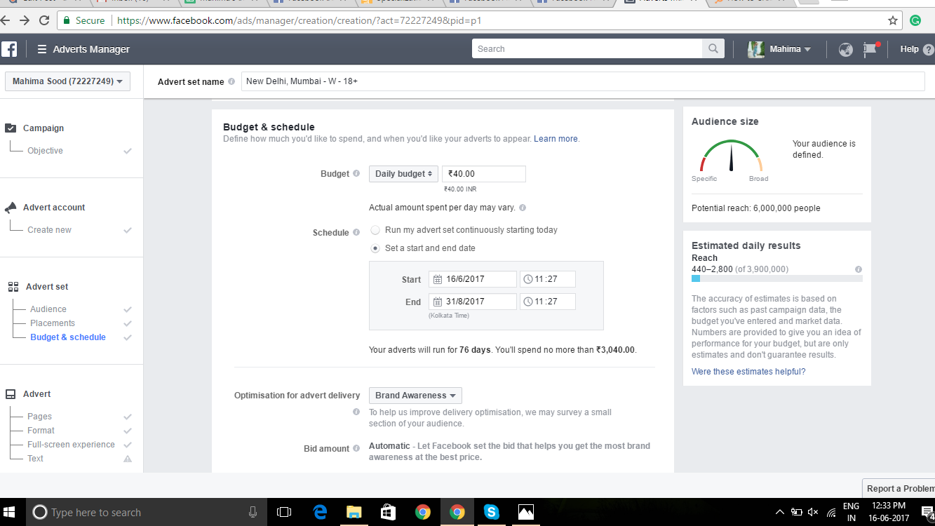 cost of a Facebook ad