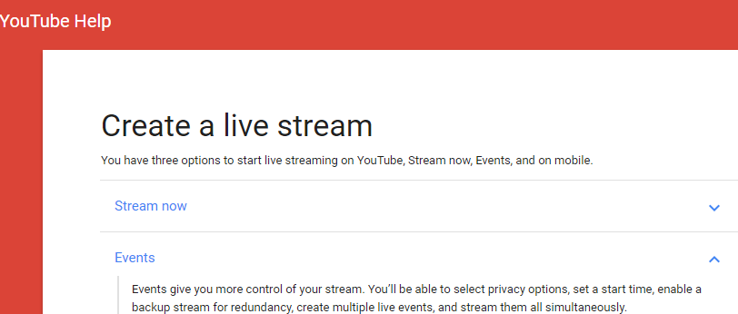 YouTube live working