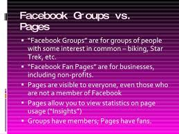 Comparison of Facebook Groups and Facebook Pages