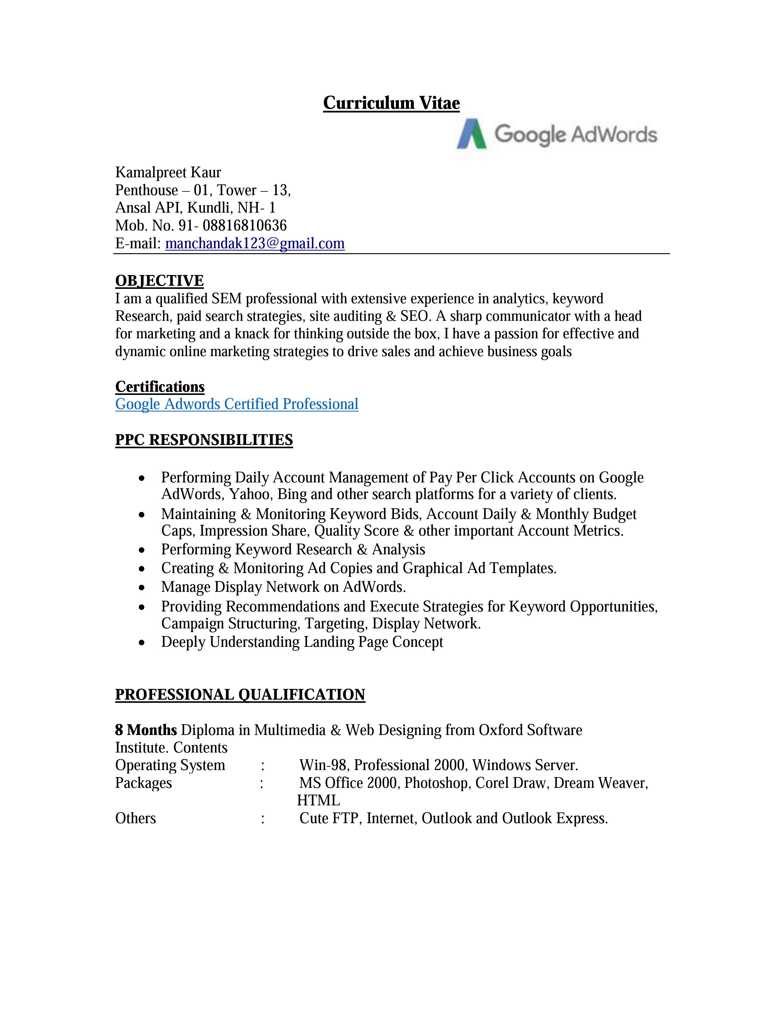 PPC resume