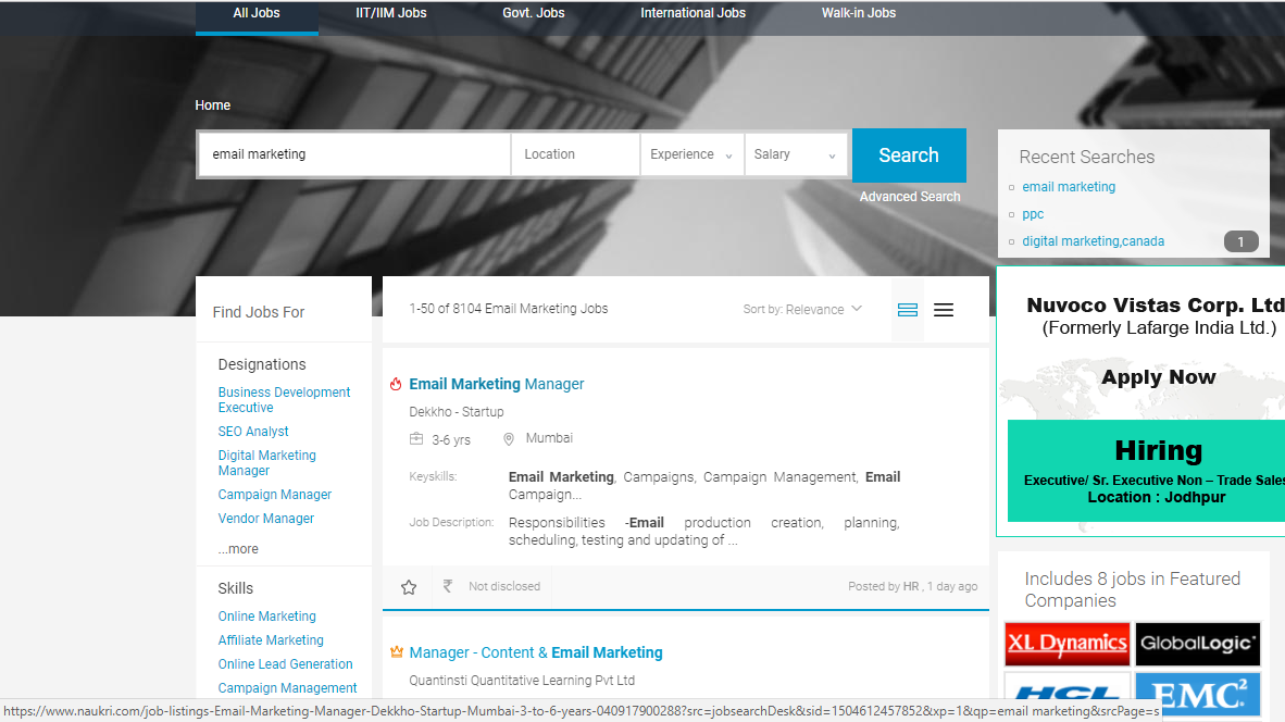 email marketing jobs salary