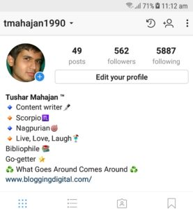 Instagram Bio example