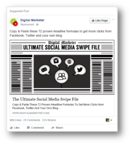 Example of Facebook Sponsored Posts